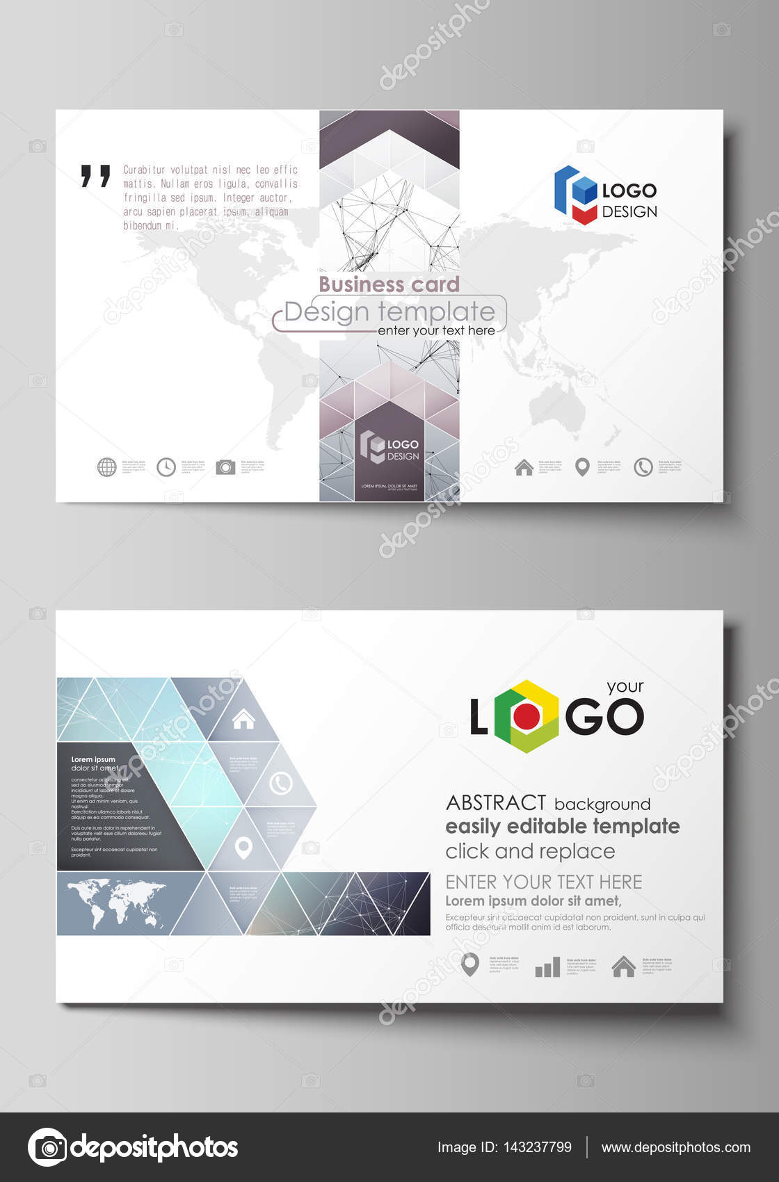 Business card templates easy editable layout abstract vector business card templates easy editable layout abstract vector design template compounds lines and dots big data visualization in minimal style alramifo Images