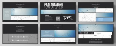 Business templates in HD format for presentation slides. Abstract vector layouts in flat design. Geometric blue color background, molecule structure, science concept. Connected lines and dots.
