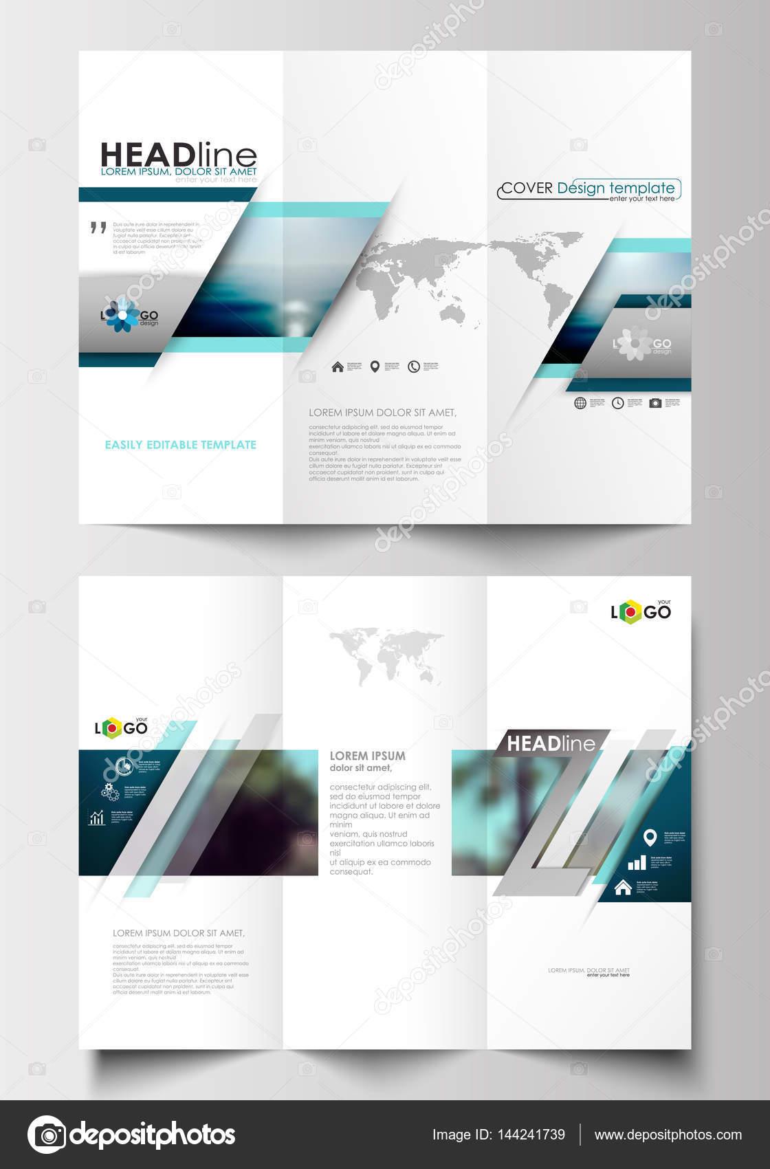 Tri-Fold Broschüre Business-Templates auf beiden Seiten. Flaches ...
