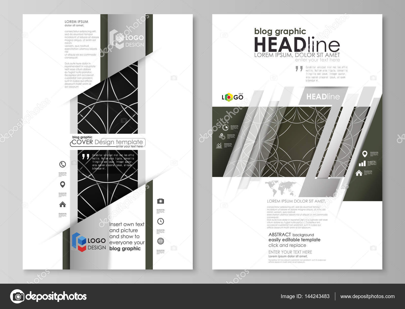 Blog graphic business templates. Page website design template, easy ...
