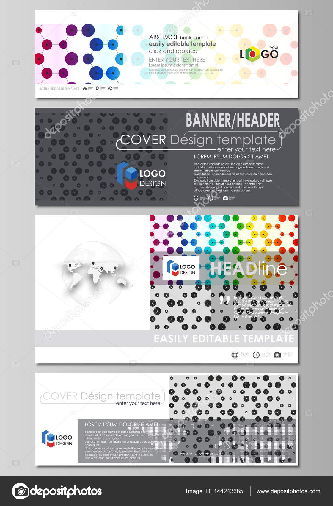 Social media and email headers set, modern banners. Abstract ...
