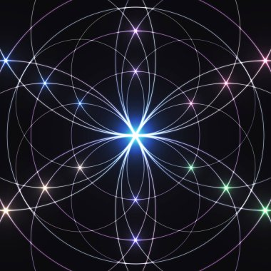 Sacred geometry, glowing geometrical ornament. Mystical background.