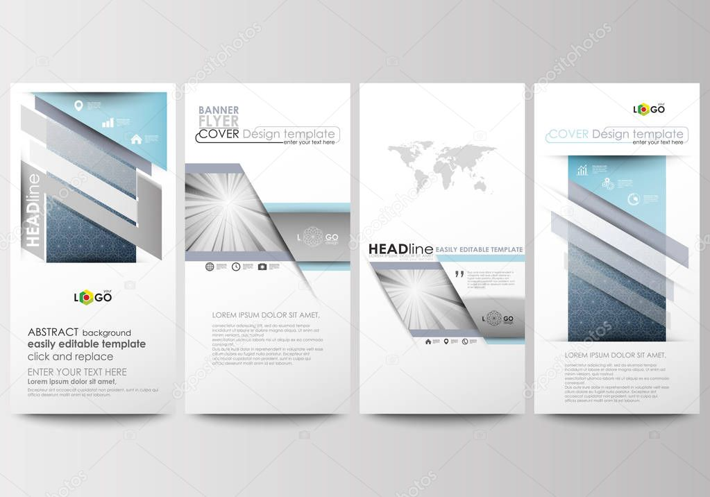 Flyers set, modern banners. Business templates. Cover design template, easy editable, flat layouts. Abstract blue or gray pattern with lines, vector texture.