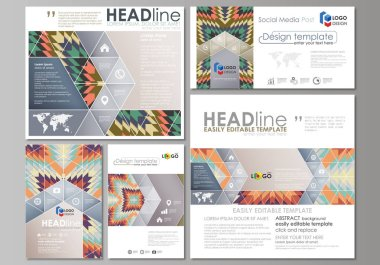 Social media posts set. Business templates. Abstract design template, vector layouts in popular formats. Tribal pattern, ornament in ethno syle, ethnic hipster backdrop, vintage fashion background.