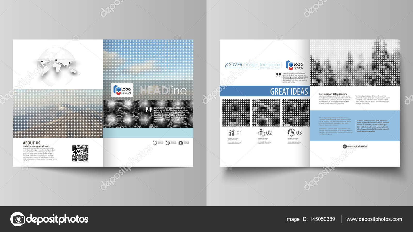 Business Templates For Bi Fold Brochure Flyer Booklet Report