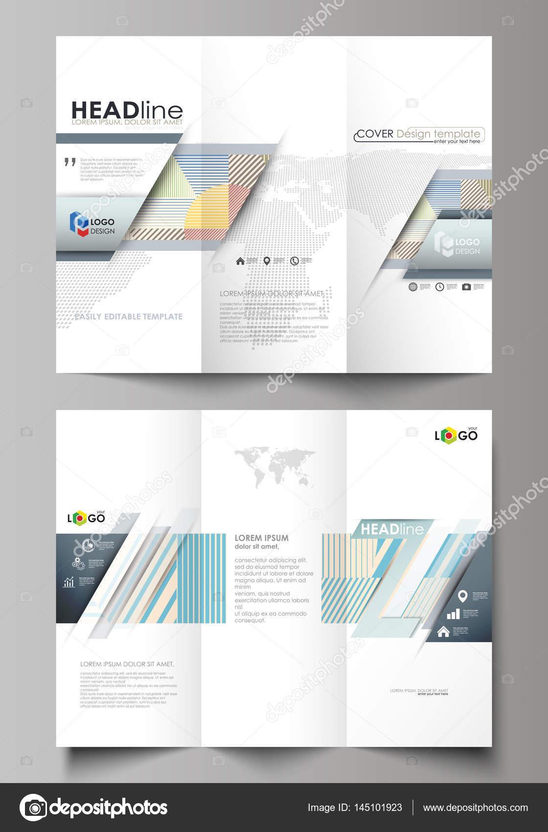 Plantillas en ambos lados en Tri-fold brochure empresarial. Diseño ...