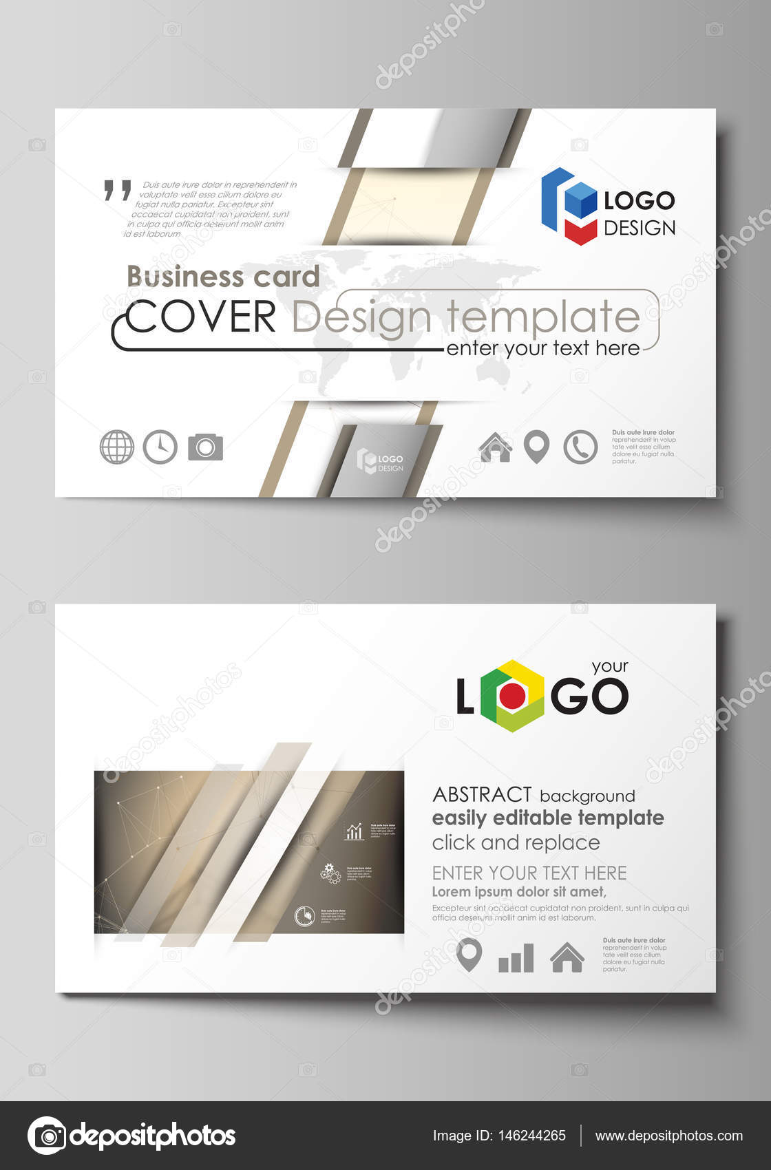 Business card templates easy editable layout abstract vector business card templates easy editable layout abstract vector design template technology science medical concept golden dots and lines alramifo Images