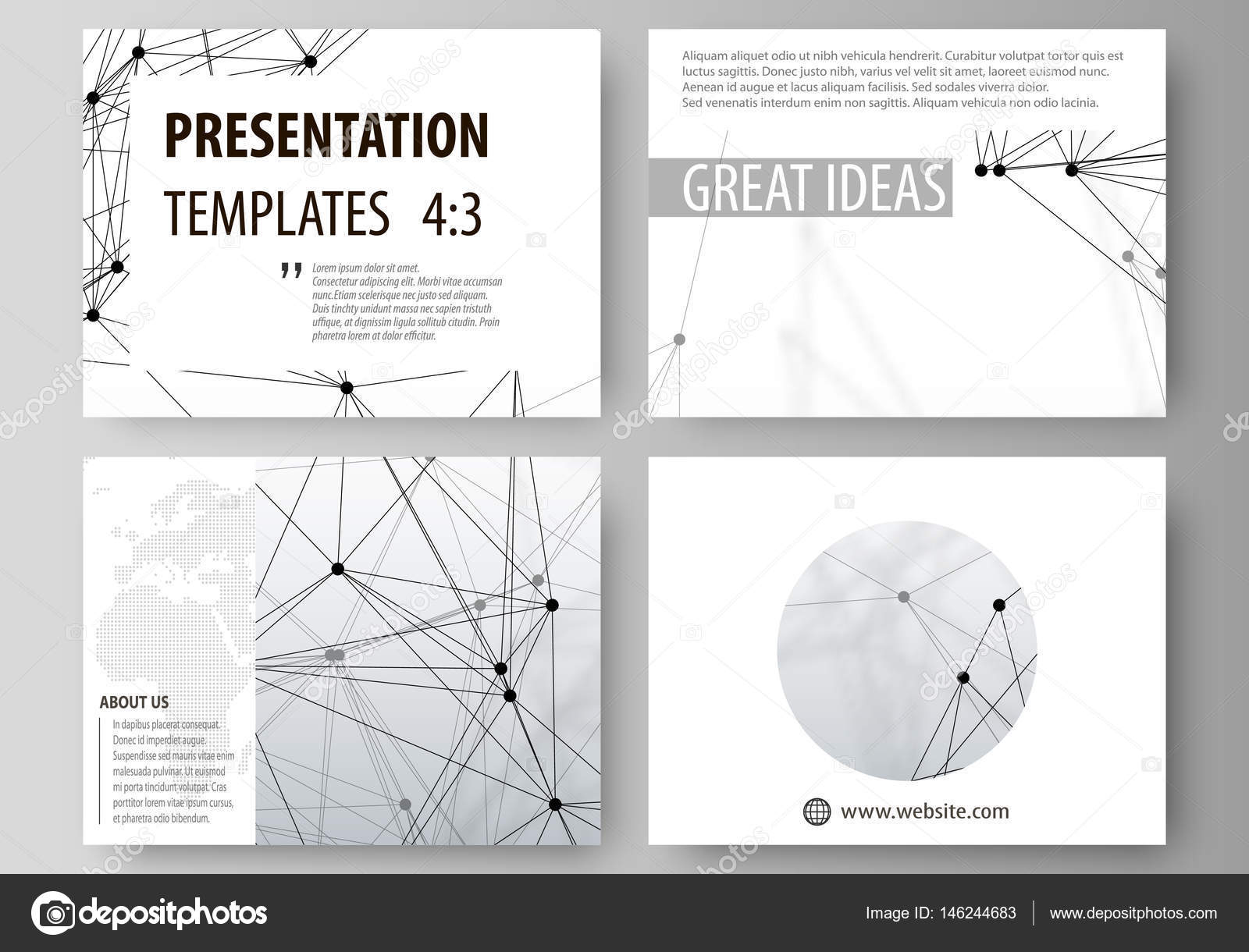 Set of business templates for presentation slides. Easy editable ...