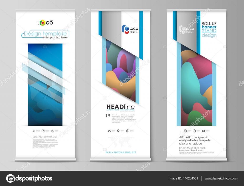 Roll-up Banner steht, flachen geometrischen Stil-Vorlagen, moderne ...