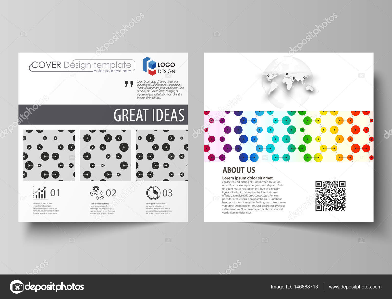 business templates for square brochure flyer leaflet cover