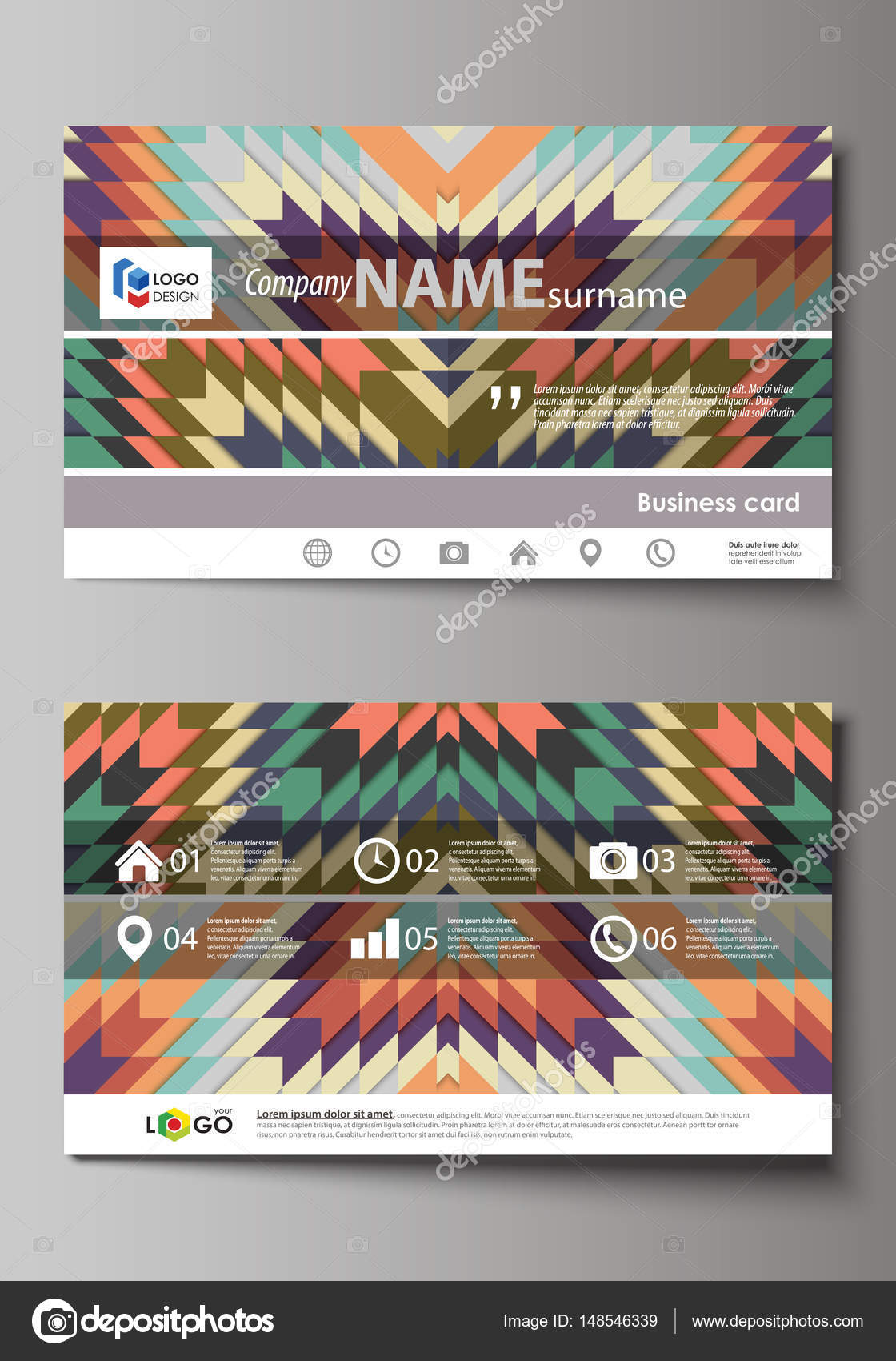 Business card templates easy editable layout abstract vector business card templates easy editable layout abstract vector design template tribal pattern geometrical ornament in ethno syle ethnic hipster backdrop alramifo Images