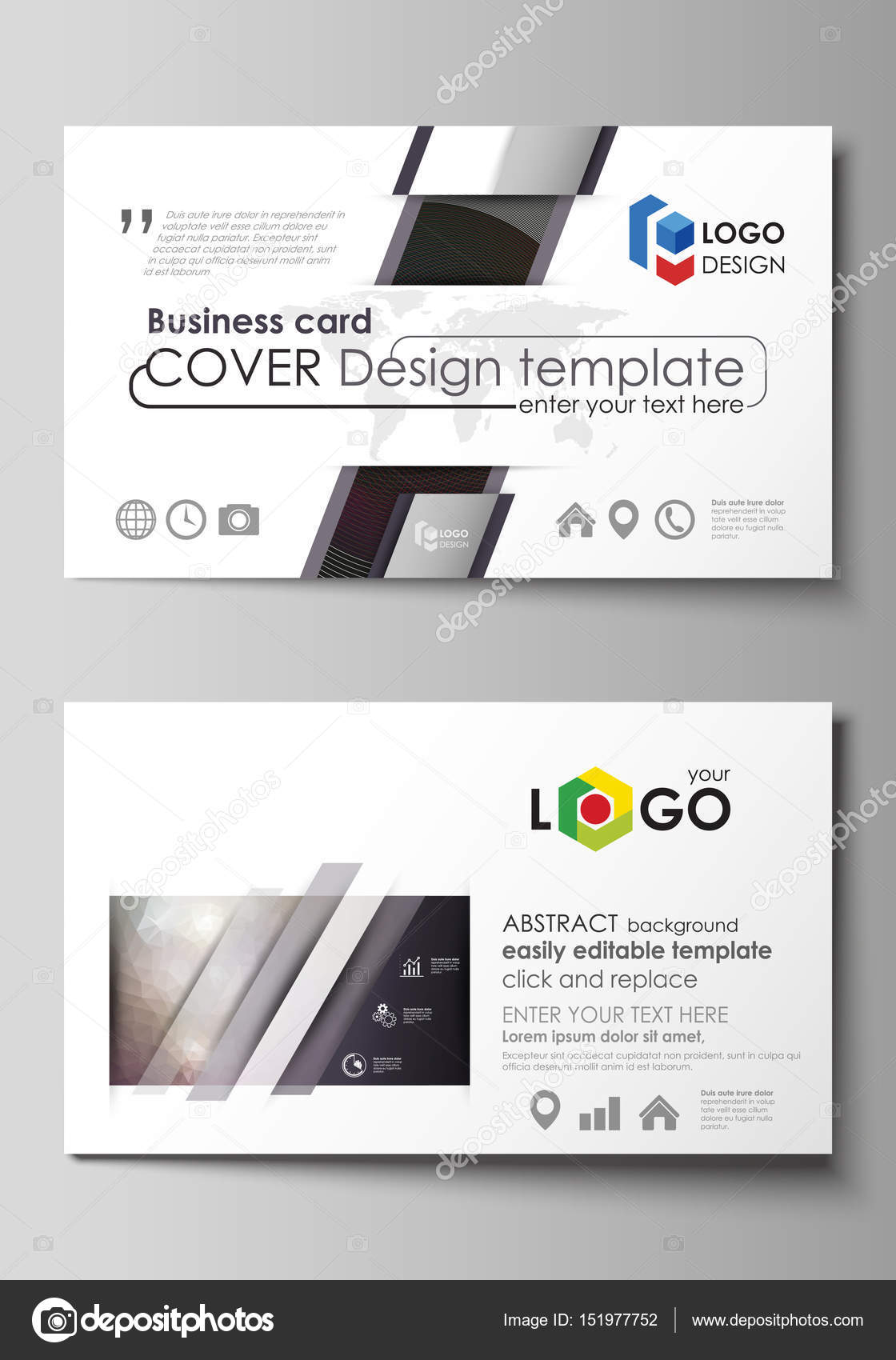 Business card templates easy editable layout vector design business card templates easy editable layout abstract vector design template dark color triangles and colorful circles abstract polygonal style modern fbccfo Gallery