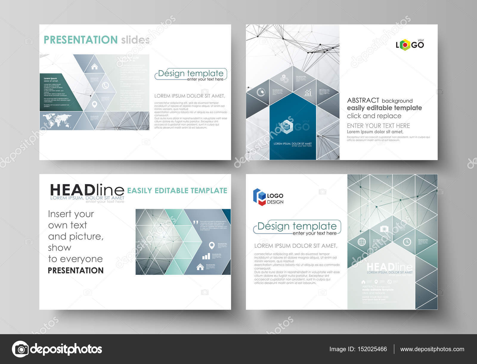 Business templates for presentation slides. Vector layouts in flat ...