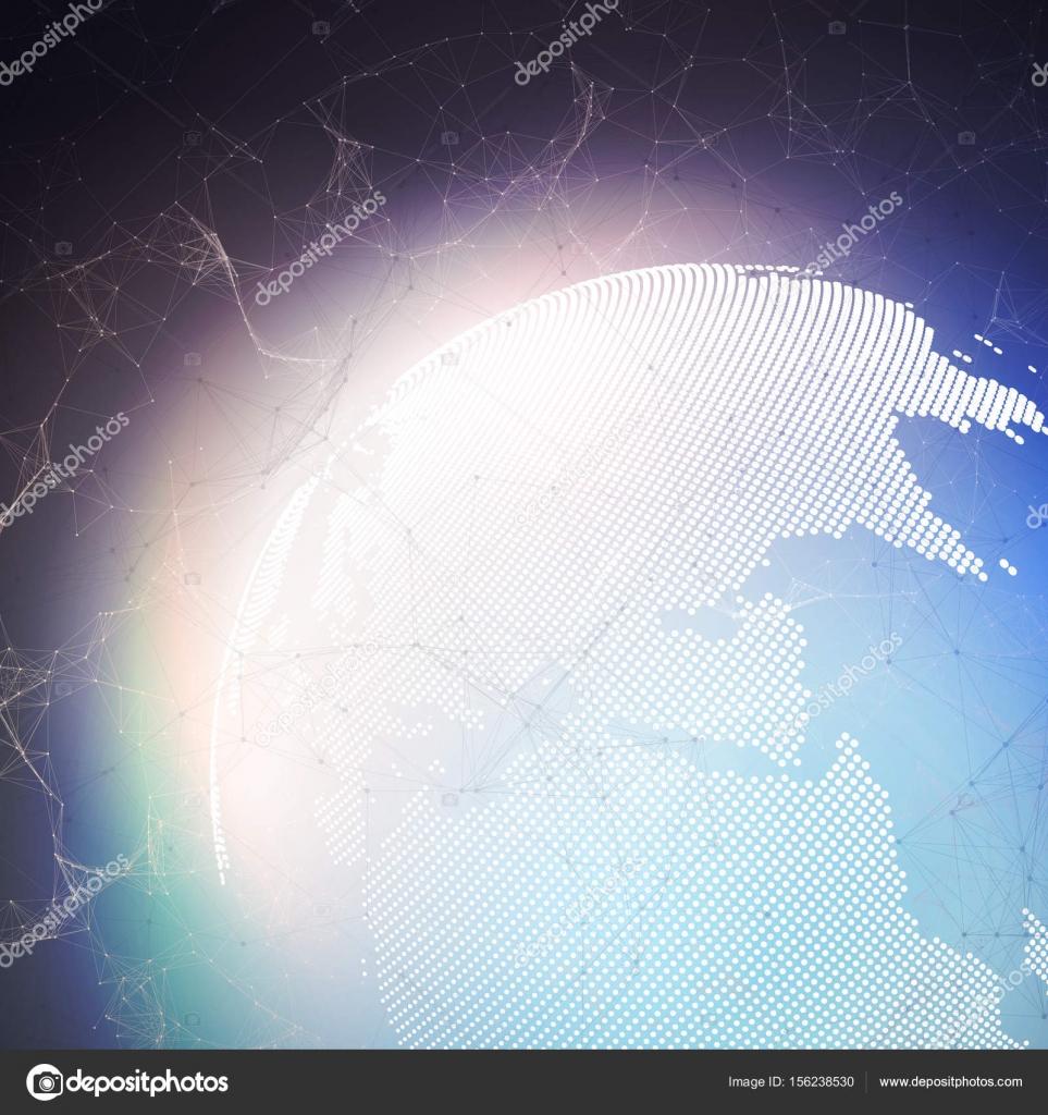 Weltkugel Auf Dunklem Hintergrund Mit Der Verbindung Von