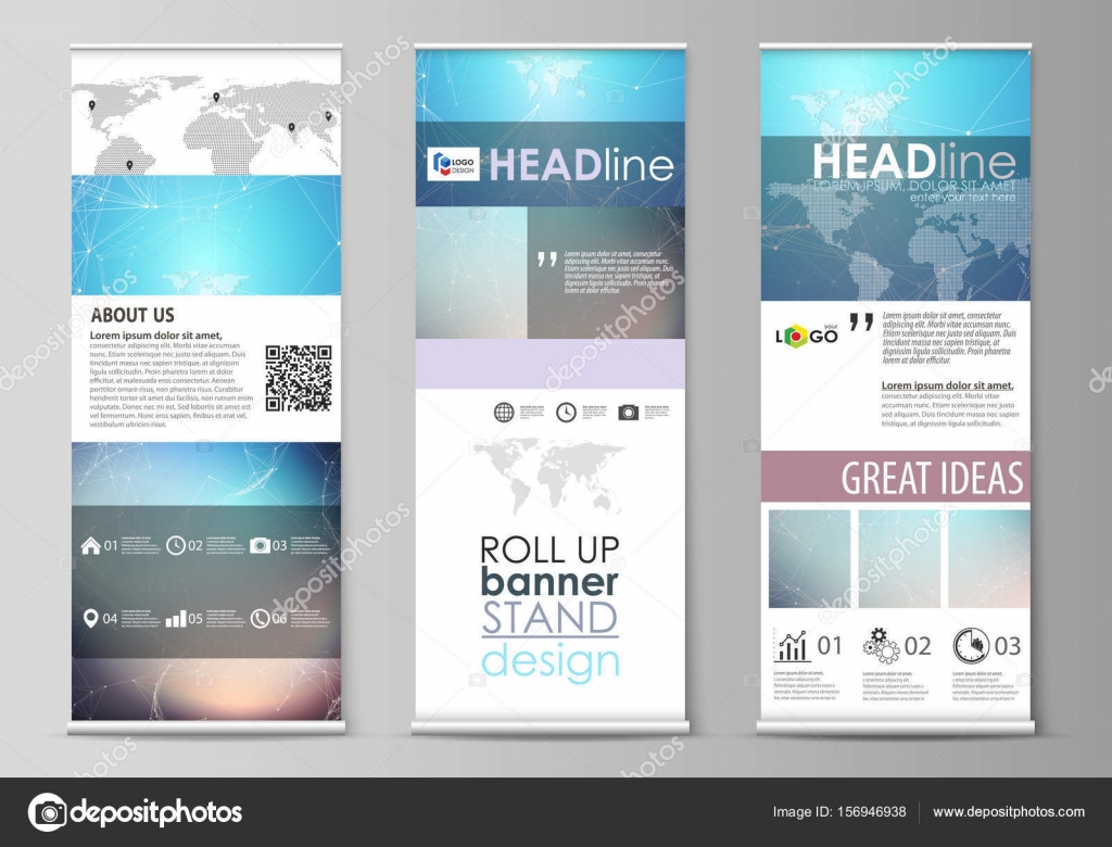 the minimalistic vector illustration of the editable layout of roll up banner stands vertical flyers flags design business templates molecule structure