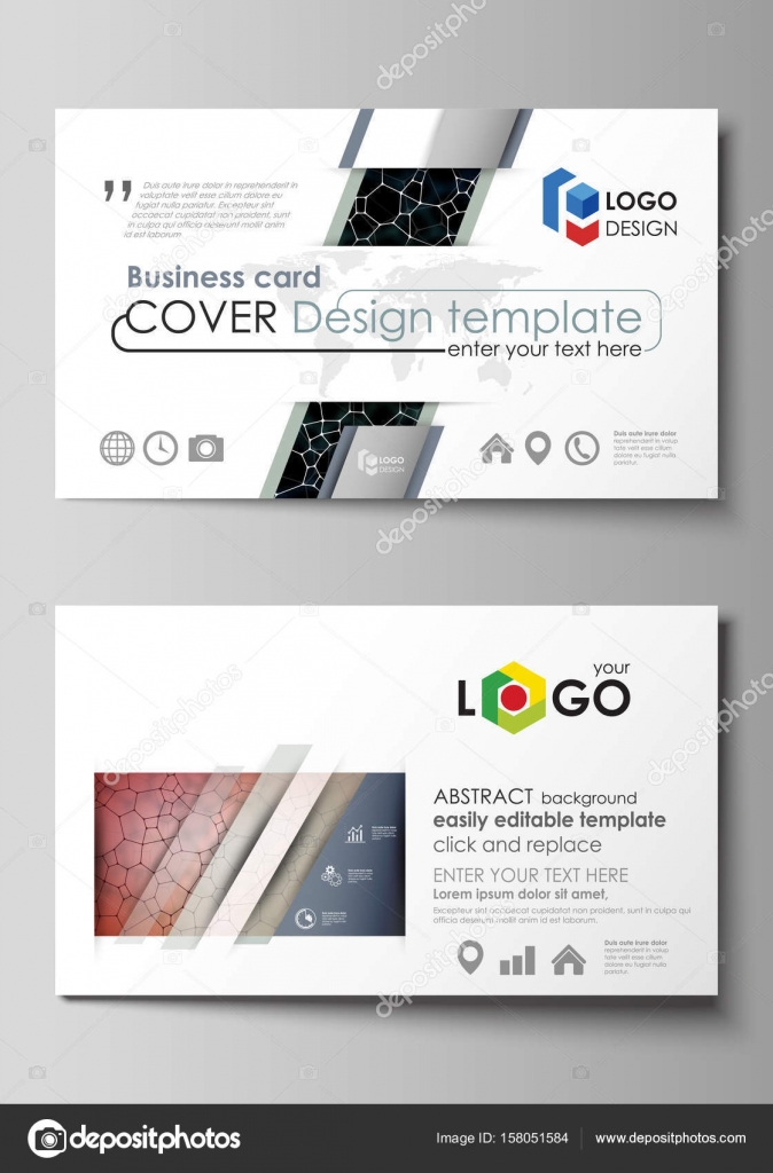 Visitenkarten-Vorlagen. Einfach bearbeitbar Layout, abstraktes ...