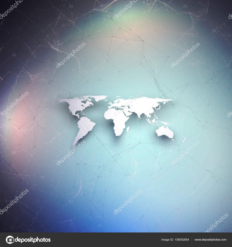 World map in perspective with shadow on blue abstract global world map in perspective with shadow on blue abstract global network connections geometric design gumiabroncs Choice Image