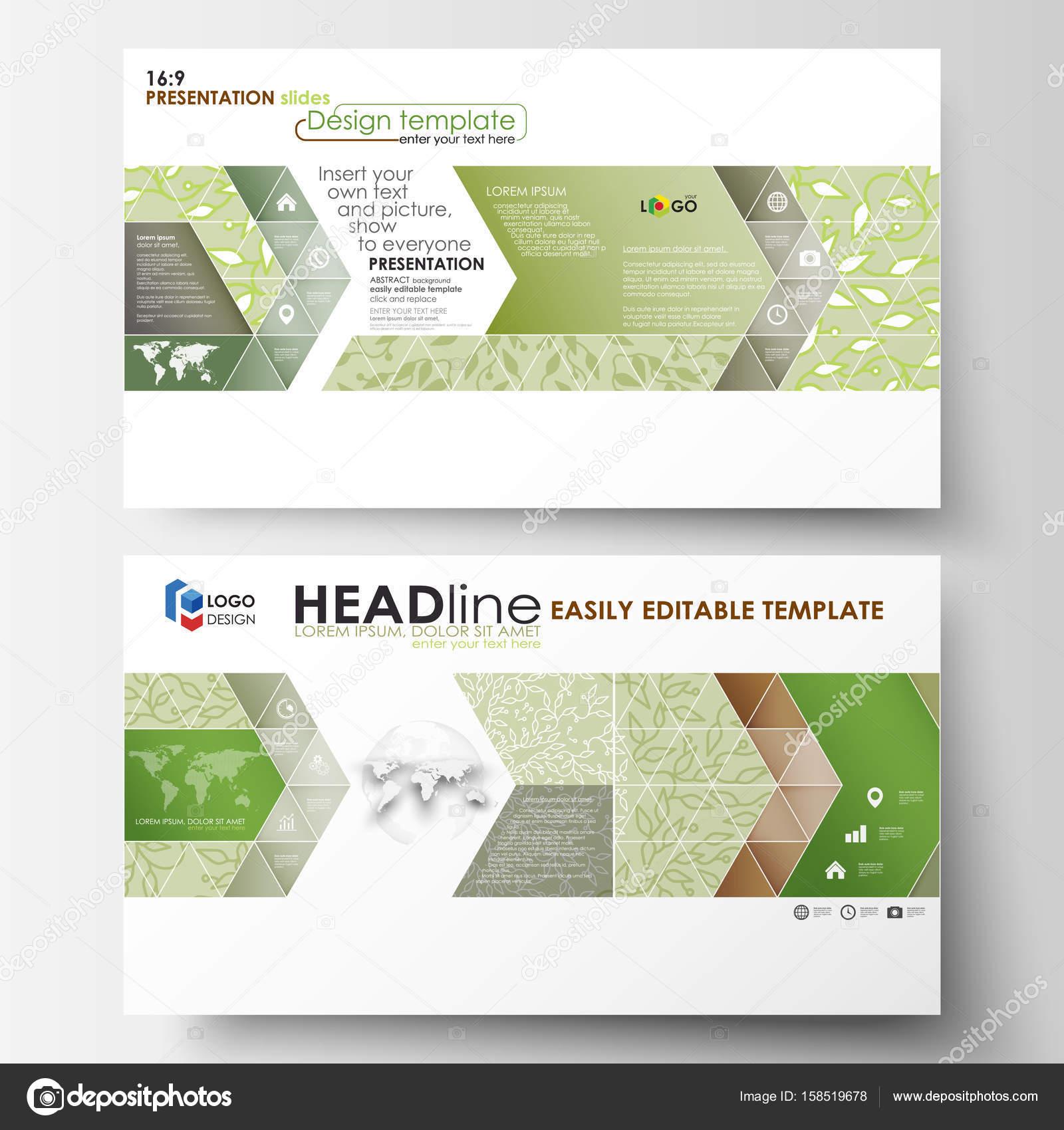 Einfach Bearbeitbar Abstrakten Layouts Im Flat Design, Vektor Illustration.  Grüne Hintergrundfarbe Mit Blättern. Spa Konzept In Linearen Stil.