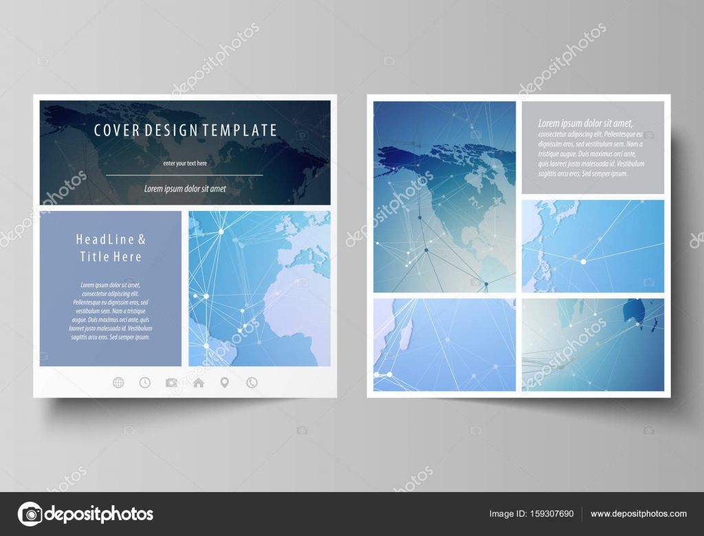 the minimalistic vector illustration of the editable layout of two square format covers design templates for brochure flyer booklet world map on blue