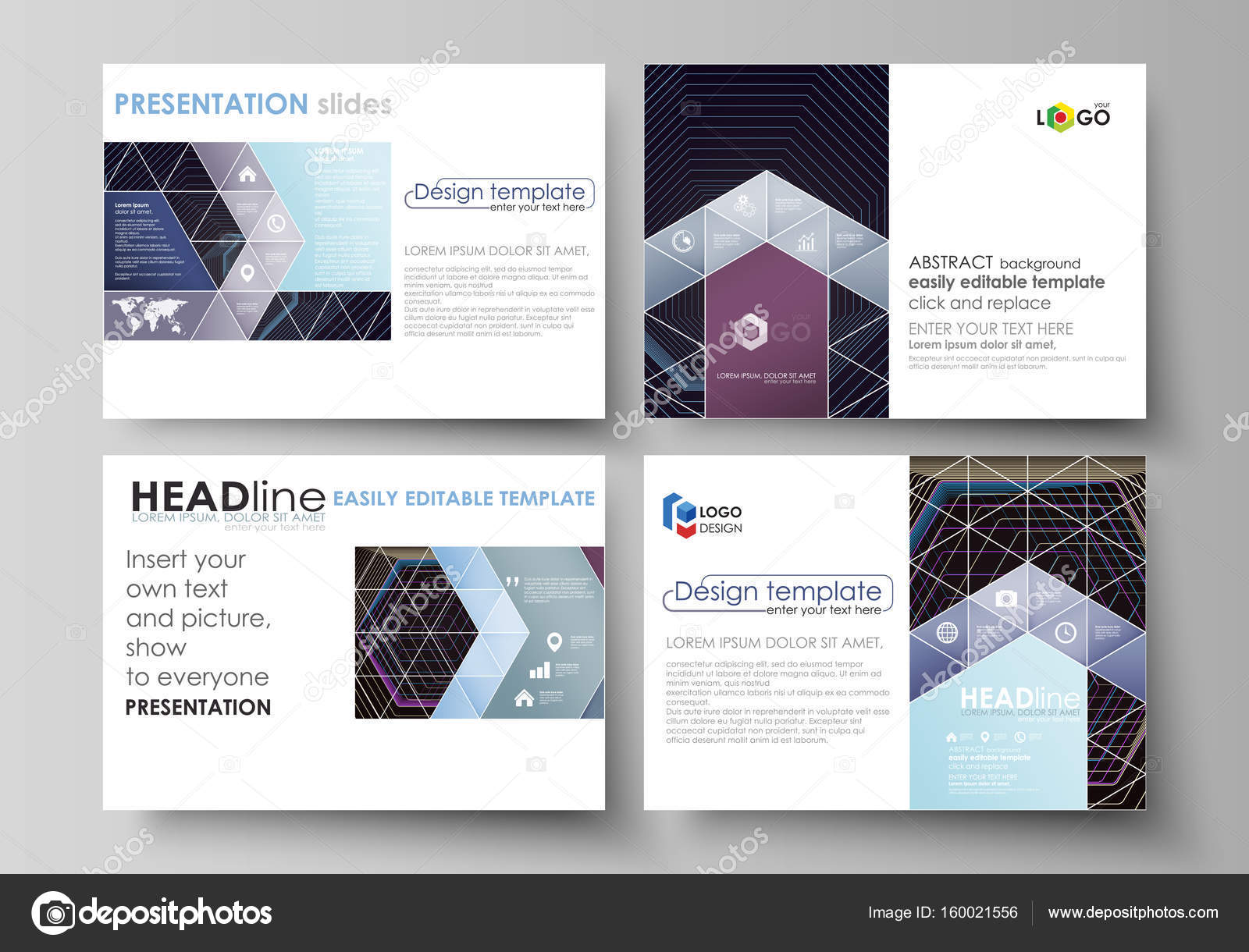 business templates for presentation slides vector layouts in flat