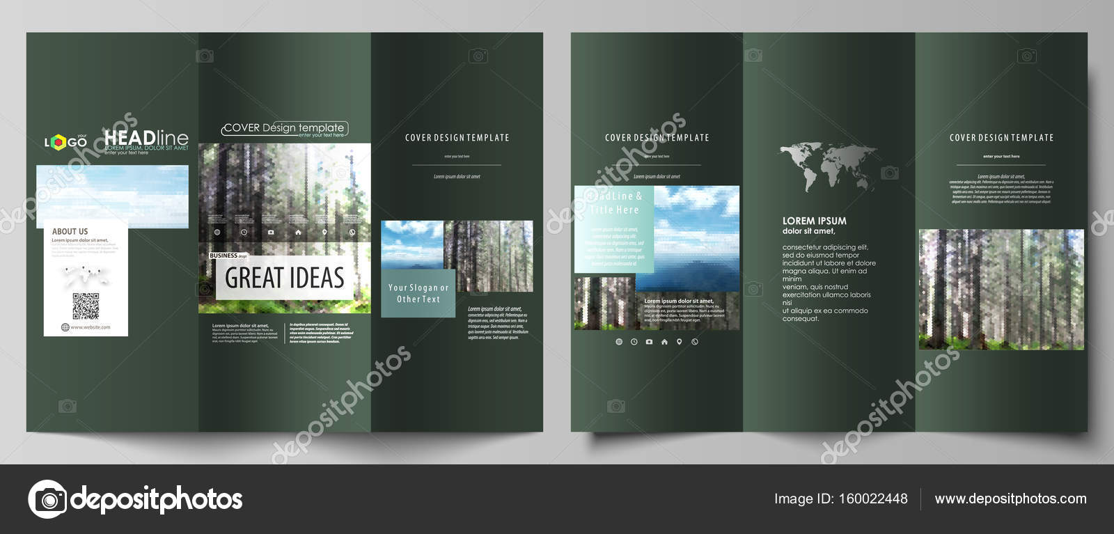 Tri Fold Brochure Templates On Both Sides Abstract Vector Layout In