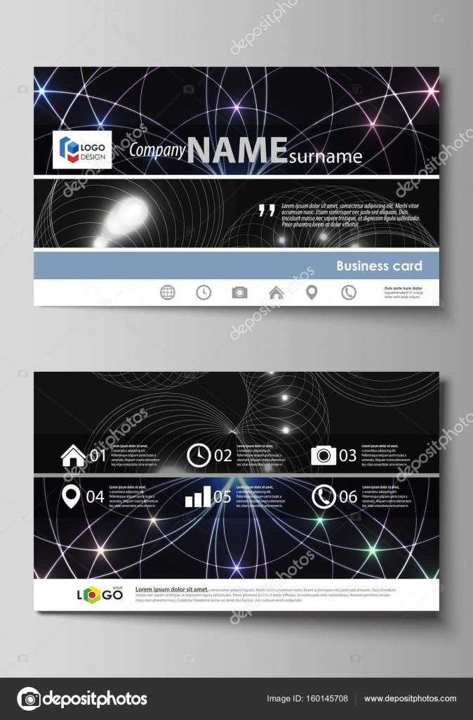 Business Card Templates Easy Editable Layout Abstract Vector Design Template Sacred Geometry Glowing Geometrical Ornament