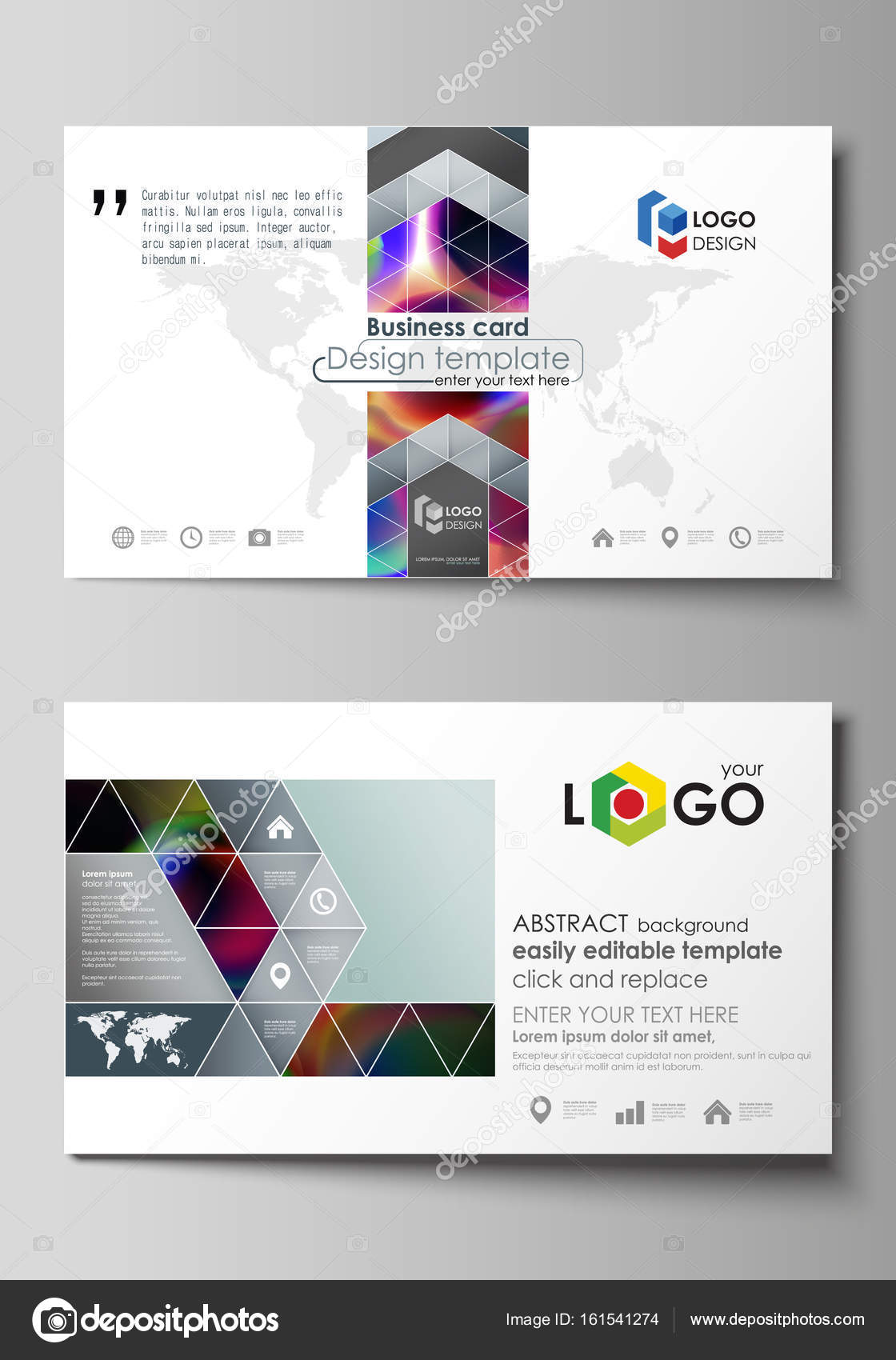 Business card templates easy editable layout flat style template business card templates easy editable layout abstract flat design template vector illustration colorful design background with abstract shapes reheart Choice Image