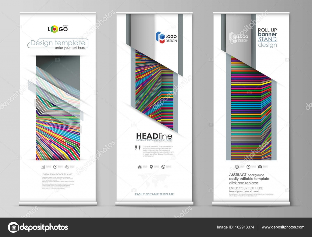 roll up banner stands abstract style templates corporate vertical