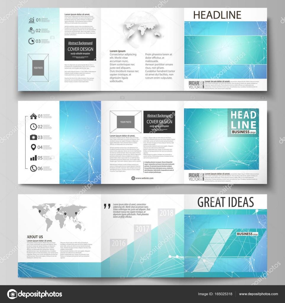 Reihe von Business-Vorlagen für Tri Fold Platzgestaltung Broschüren ...