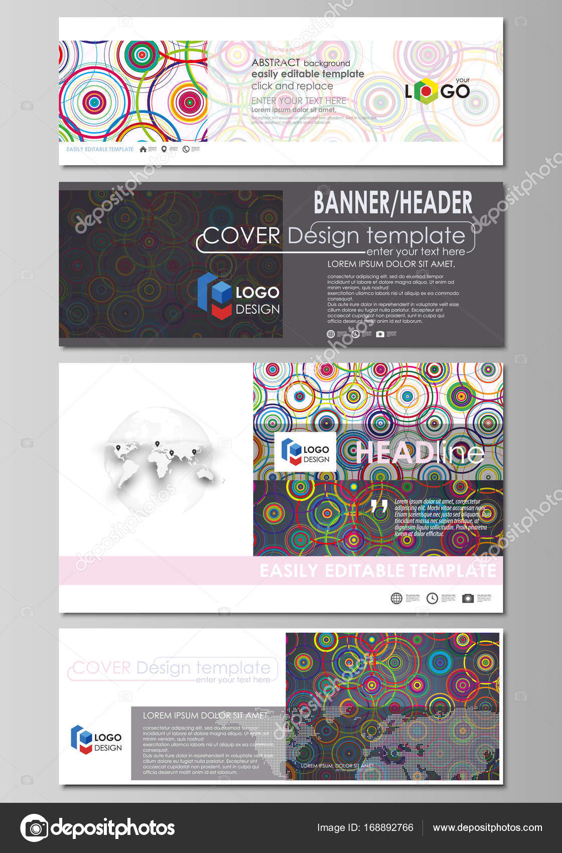 Social media and email headers, modern banners. Business templates ...