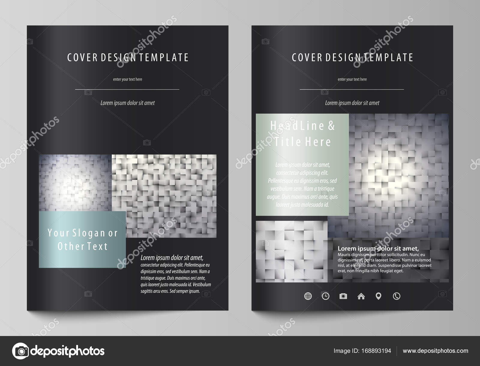 Business templates for brochure magazine flyer report cover cover design template abstract vector layout in a4 size pattern made from squares gray background in geometrical style simple texture vector by maxwellsz