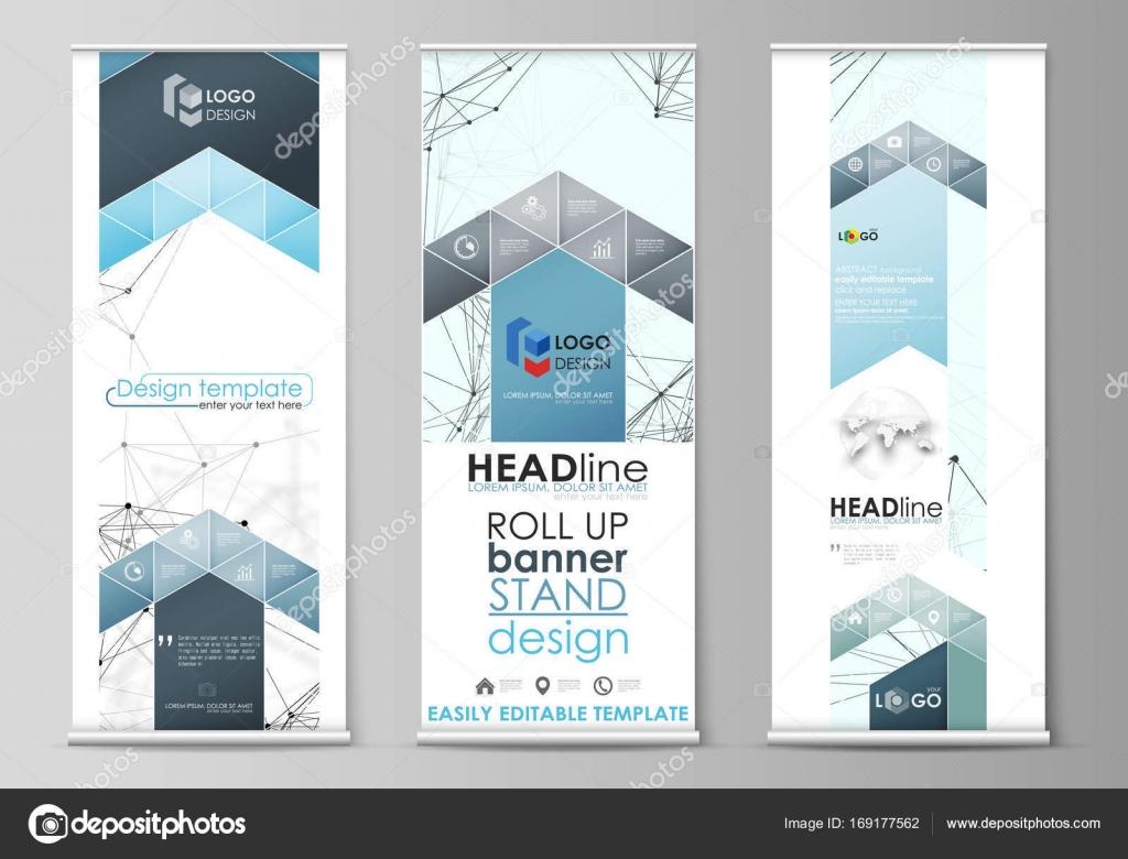 Roll-up Banner steht, abstrakte geometrische Stilvorlagen ...