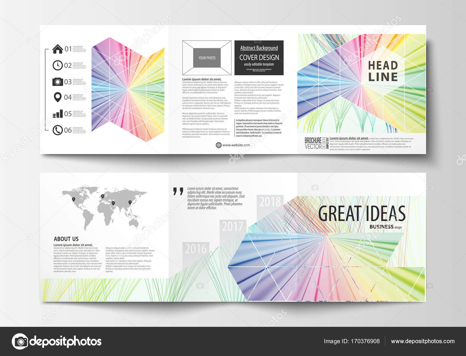 Reihe von Business-Vorlagen für Tri Fold quadratische Broschüren ...