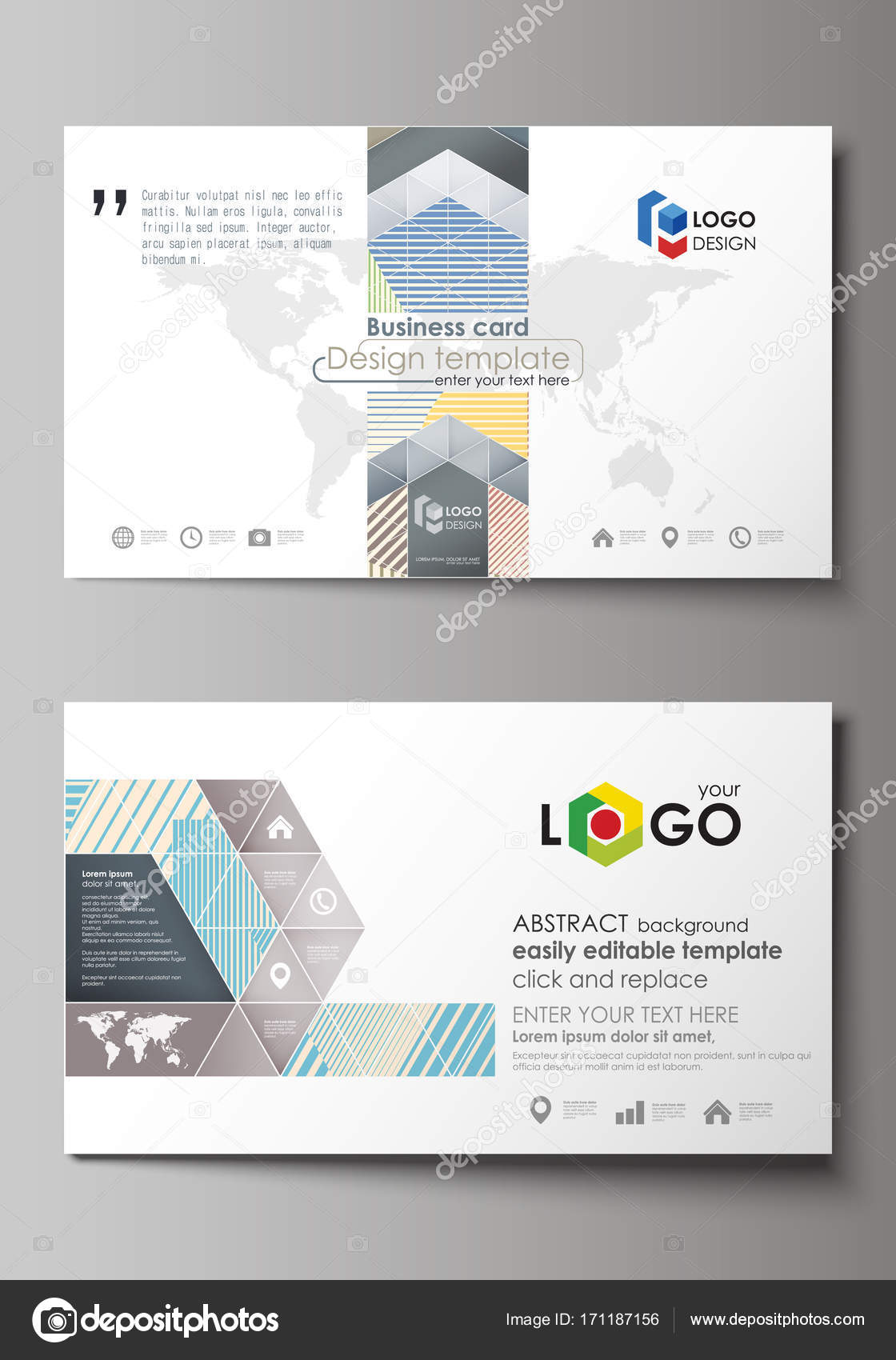 Business card templates easy editable layout abstract vector business card templates easy editable layout abstract vector design template minimalistic design with lines geometric shapes forming beautiful cheaphphosting Image collections