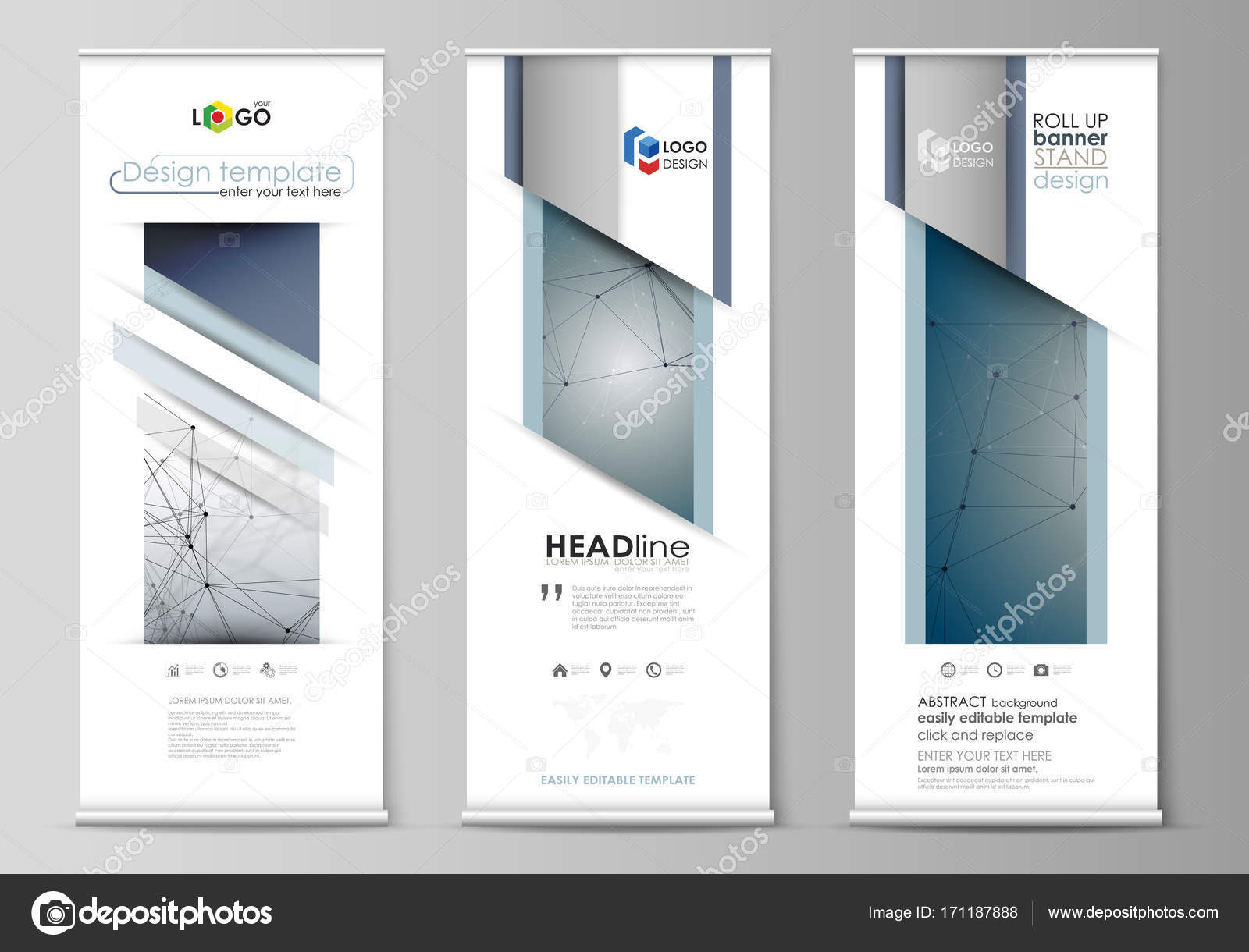 roll up banner stands abstract geometric design business concept