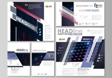 Social media posts set. Business template. Layouts in popular format. Abstract colorful neon dots, dotted technology background. Glowing particles, led light pattern, futuristic digital vector design