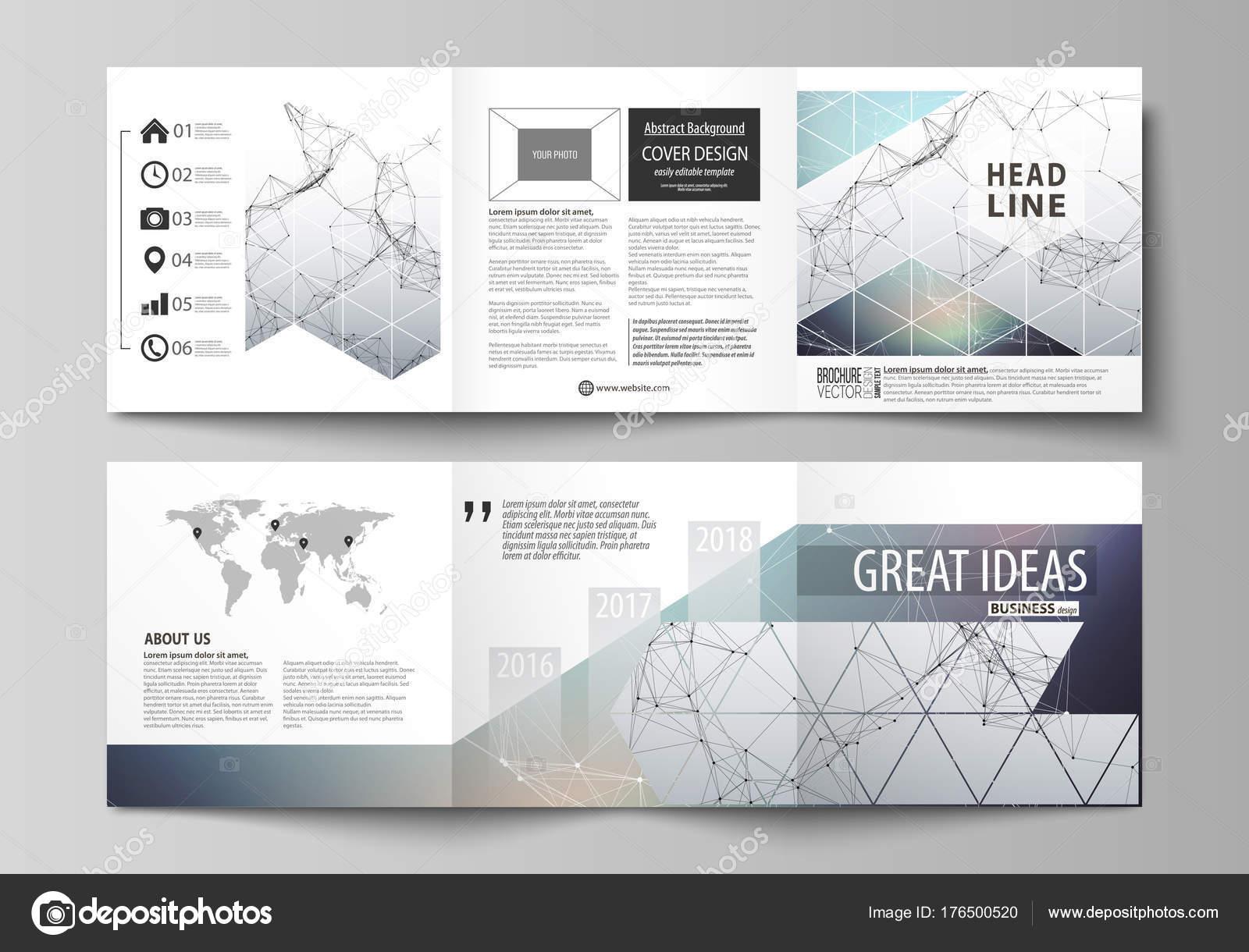set of business templates for tri fold square design brochures