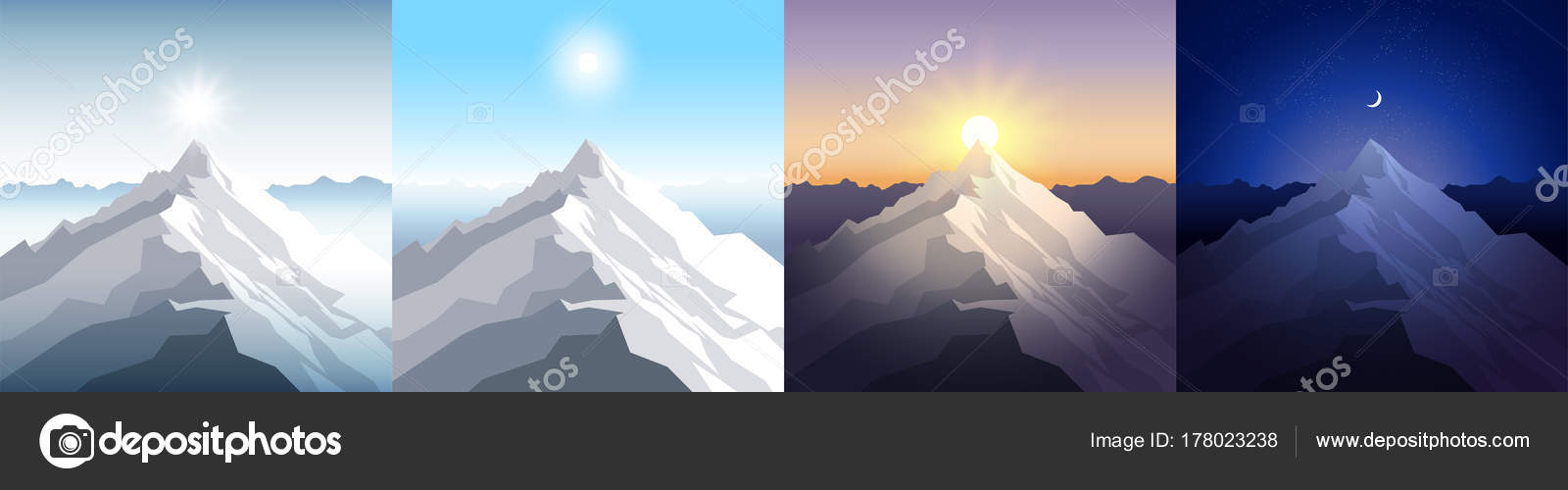 Nature mountain set A midday sun dawn sunset night in the