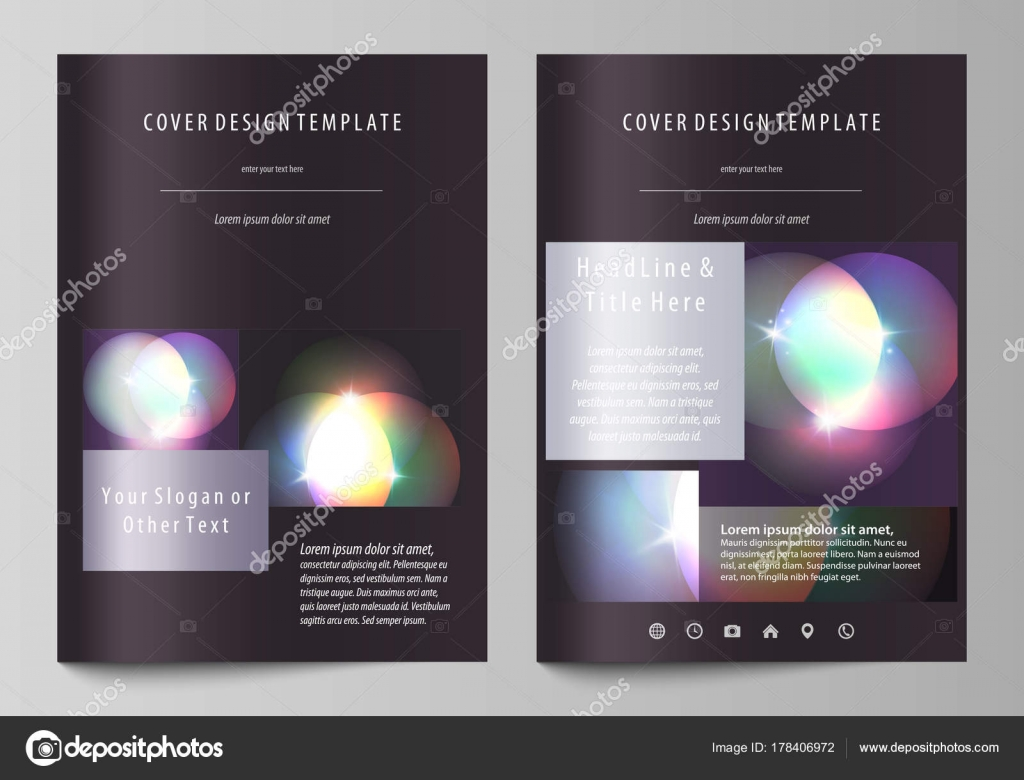 Business Templates For Brochure, Magazine, Flyer, Booklet Or Annual Report.  Cover Design Template, Easy Editable Vector, Abstract Flat Layout In A4  Size.  Annual Report Cover Template