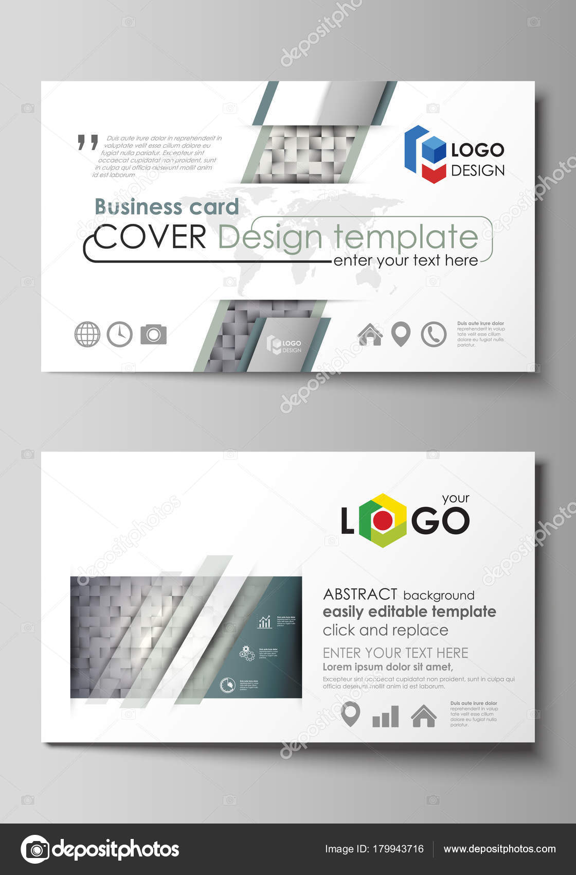 Business card templates easy editable layout abstract vector business card templates easy editable layout abstract vector design template pattern made from squares gray background in geometrical style cheaphphosting Choice Image