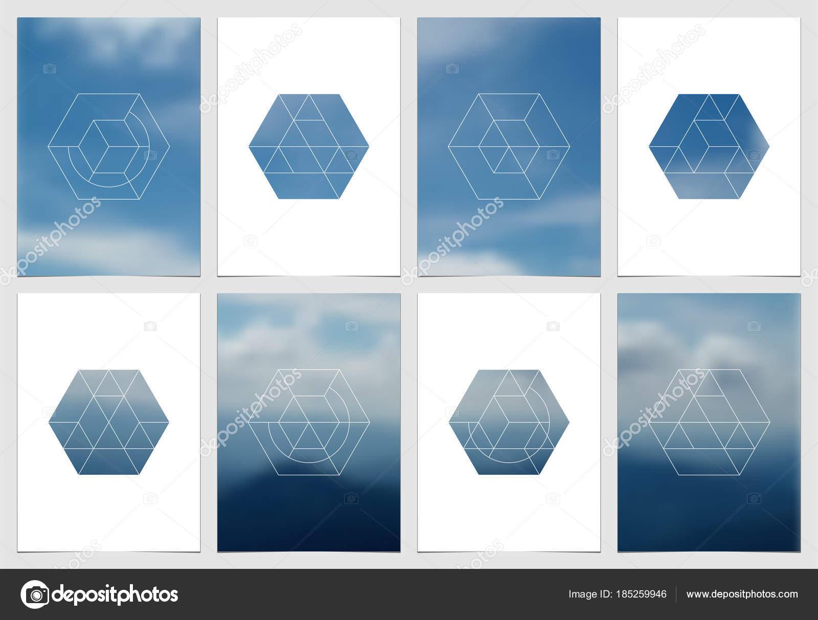 A4-Prospekt-Cover-Design mit geometrischen Formen und Masken im ...