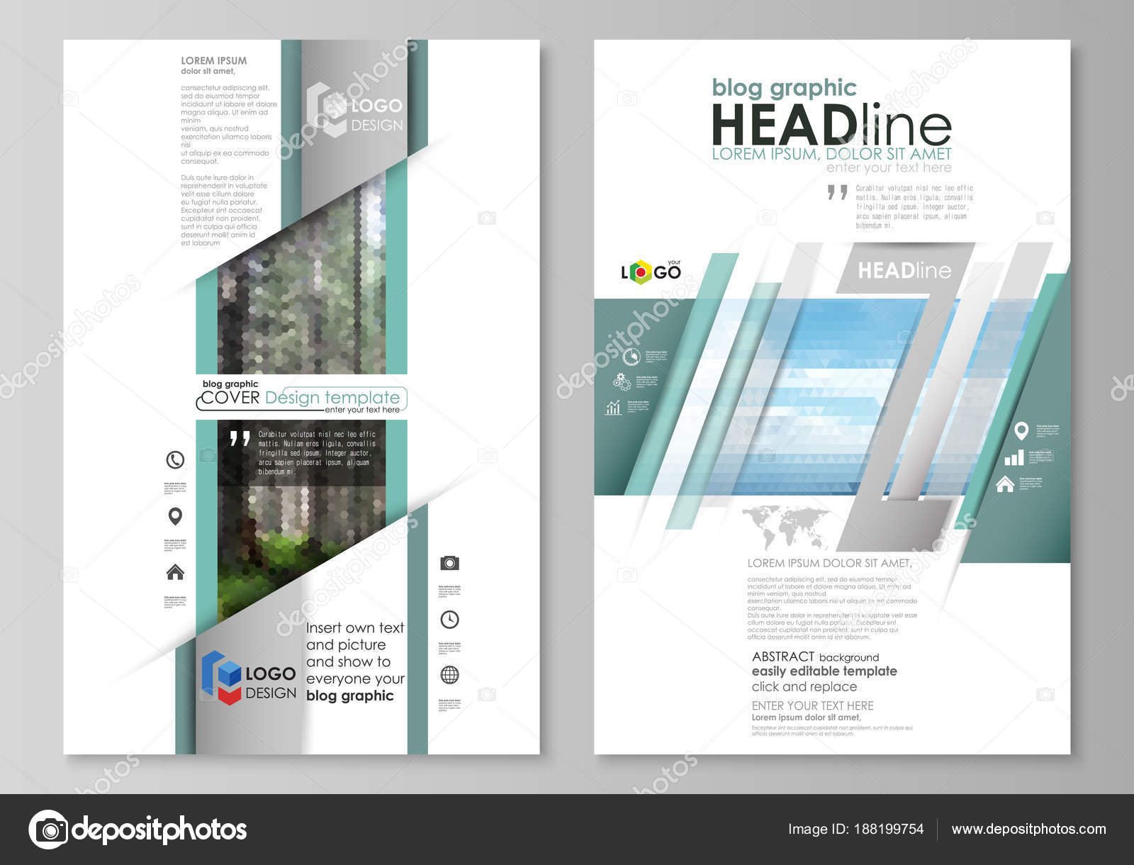 Blog-grafische Vorlagen. Seite Website-Design-Vorlage, abstrakte ...