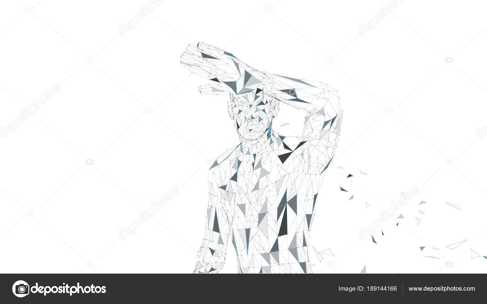 Konzeptionelle abstrakte Mann versteckt sein Gesicht mit der Hand ...