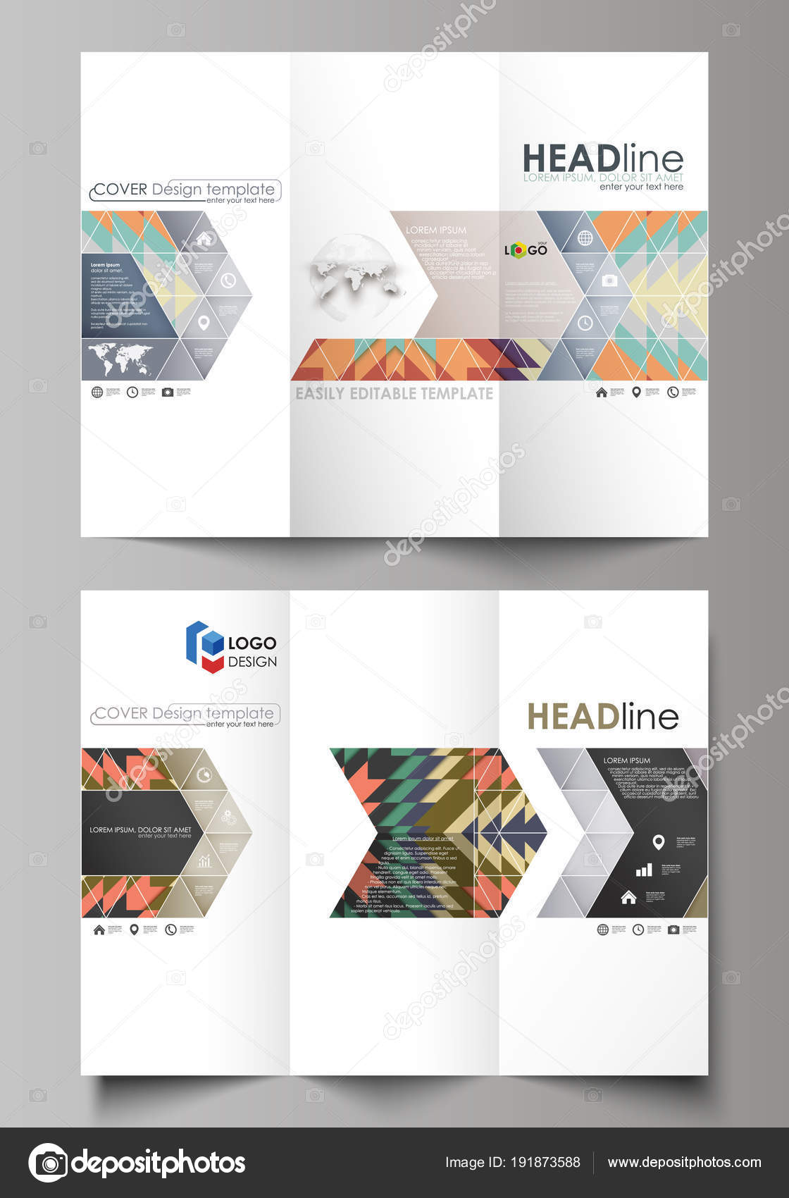 Tri Fold Brochure Business Templates On Both Sides Abstract Vector
