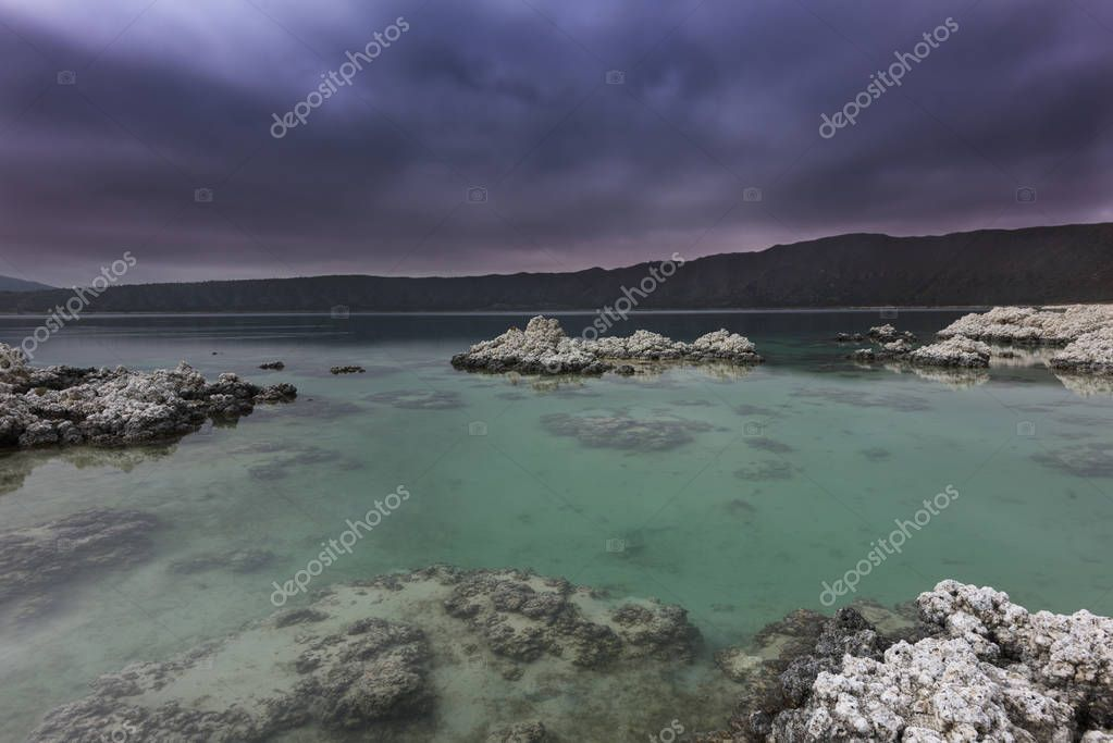 Laguna de Alchichica antes de la tormenta