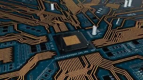 lösbares futuristisches Leiterplattenvideo mit CPU