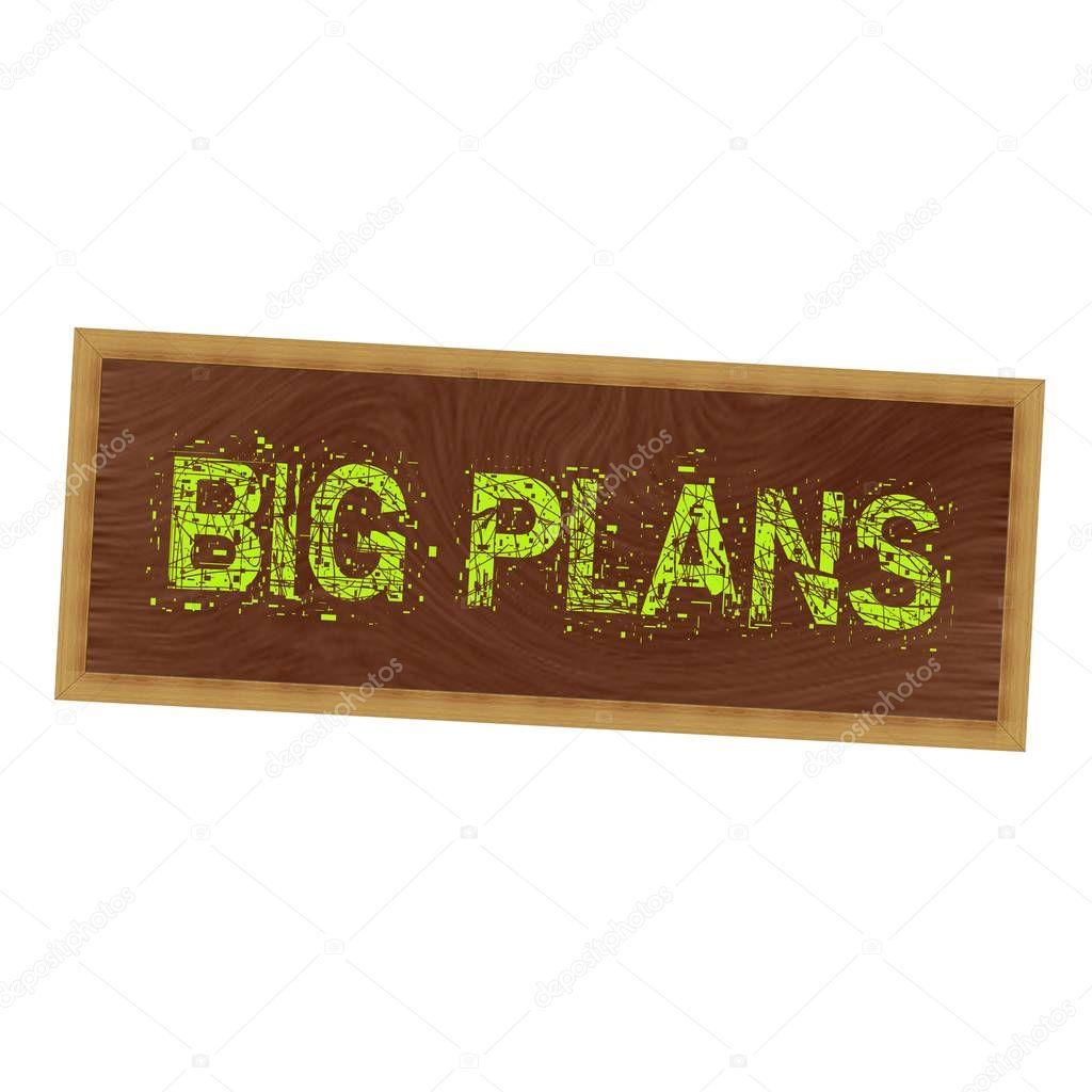 Redacción de planes amarillo grande en fondo marrón madera de cuadro ...