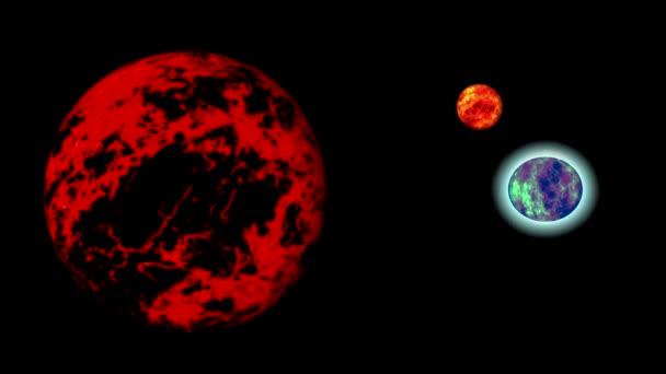 Absztrakt piros titokzatos bolygók.