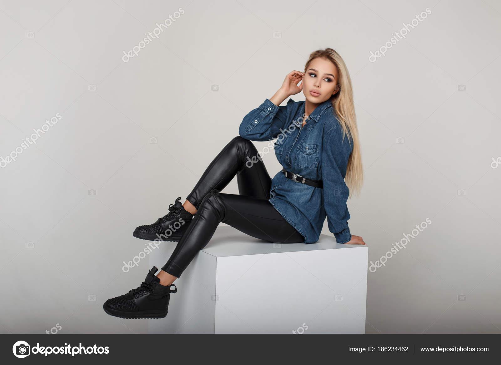 In E Di Americano Donna Giovane Pantaloni Neri Camicia Modello Jeans nw0kOX8P