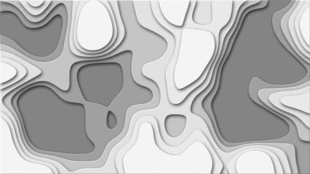 Vágjuk ki rétegek szürke skála lyukak (4k) Absztrakt háttér szürke skála vektor papír vágott formák. Vektor stílusú animáció origami, áramló vagy faragott minta mélységi rétegekben. Tökéletes hurok.